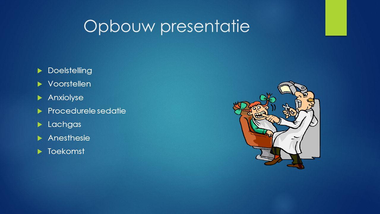 Opbouw presentatie  Doelstelling  Voorstellen  Anxiolyse  Procedurele sedatie  Lachgas  Anesthesie  Toekomst