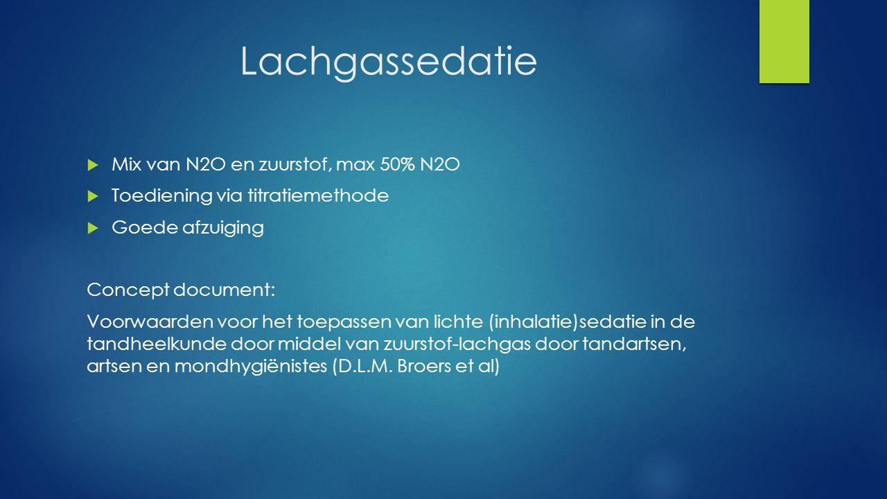 Lachgassedatie  Mix van N2O en zuurstof, max 50% N2O  Toediening via titratiemethode  Goede afzuiging Concept document: Voorwaarden voor het toepas