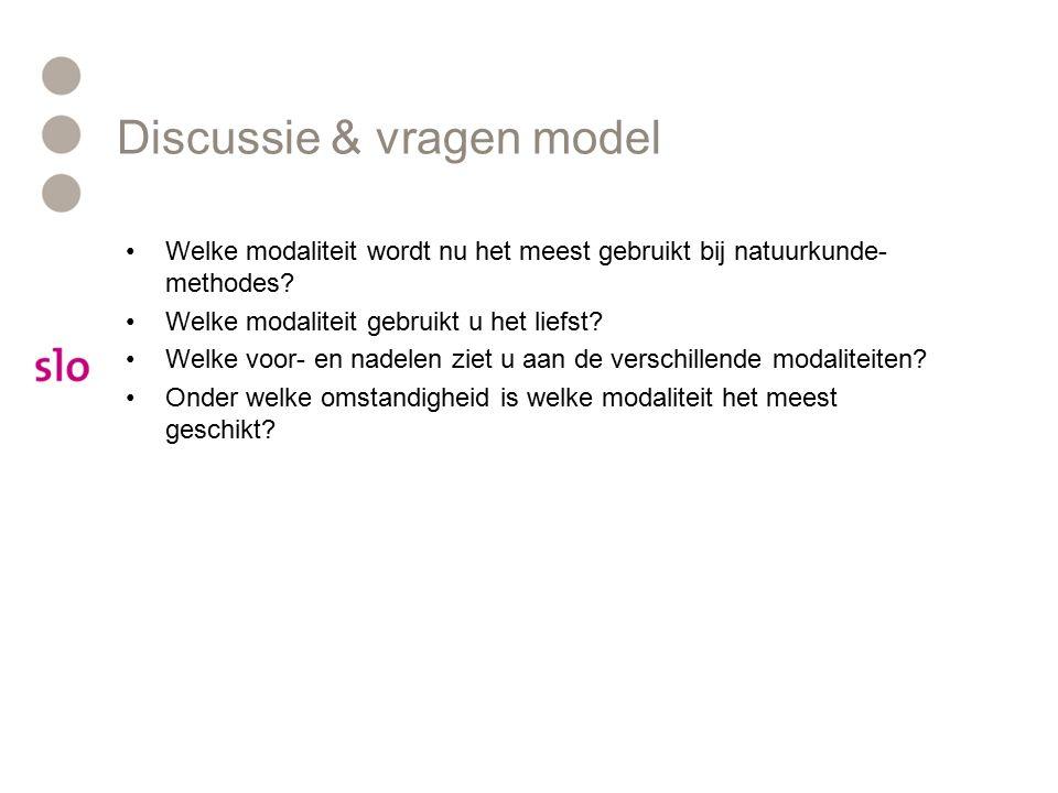 Discussie & vragen model Welke modaliteit wordt nu het meest gebruikt bij natuurkunde- methodes.