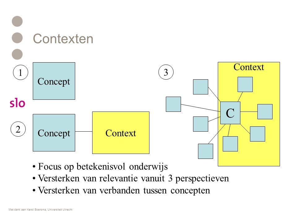 Contexten Focus op betekenisvol onderwijs Versterken van relevantie vanuit 3 perspectieven Versterken van verbanden tussen concepten Concept 1 Context 2 C 3 Met dank aan Kerst Boersma, Universiteit Utrecht