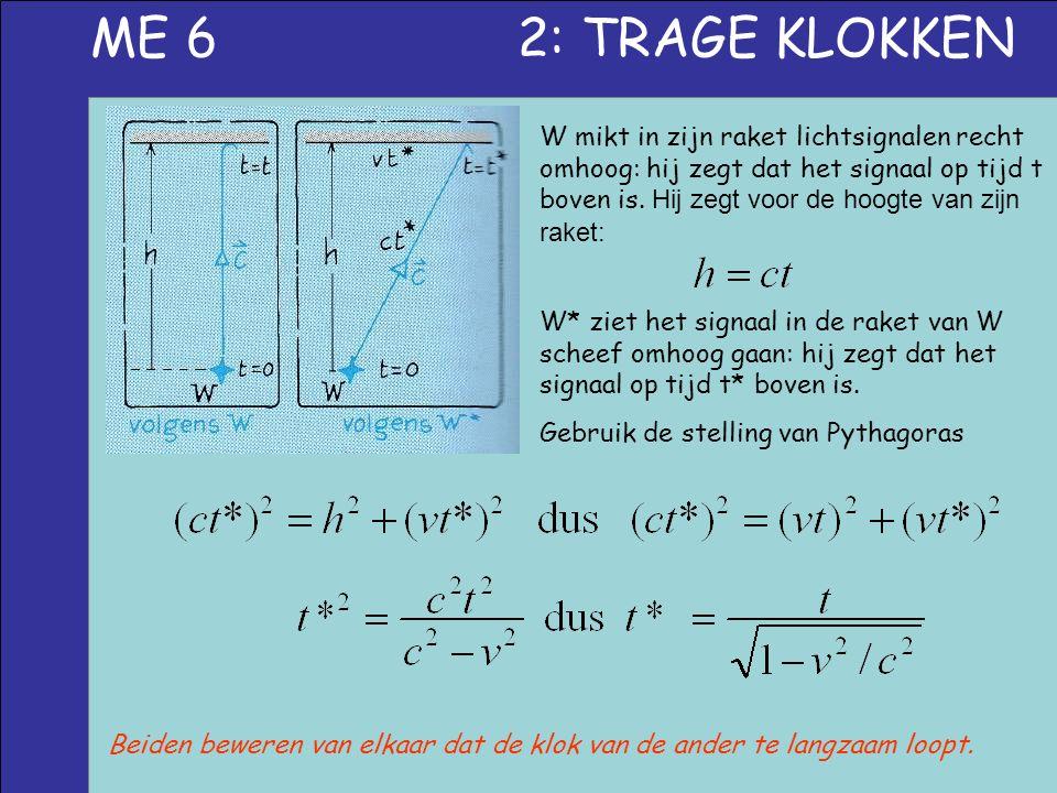 ME 6 2: TRAGE KLOKKEN W mikt in zijn raket lichtsignalen recht omhoog: hij zegt dat het signaal op tijd t boven is. Hij zegt voor de hoogte van zijn r