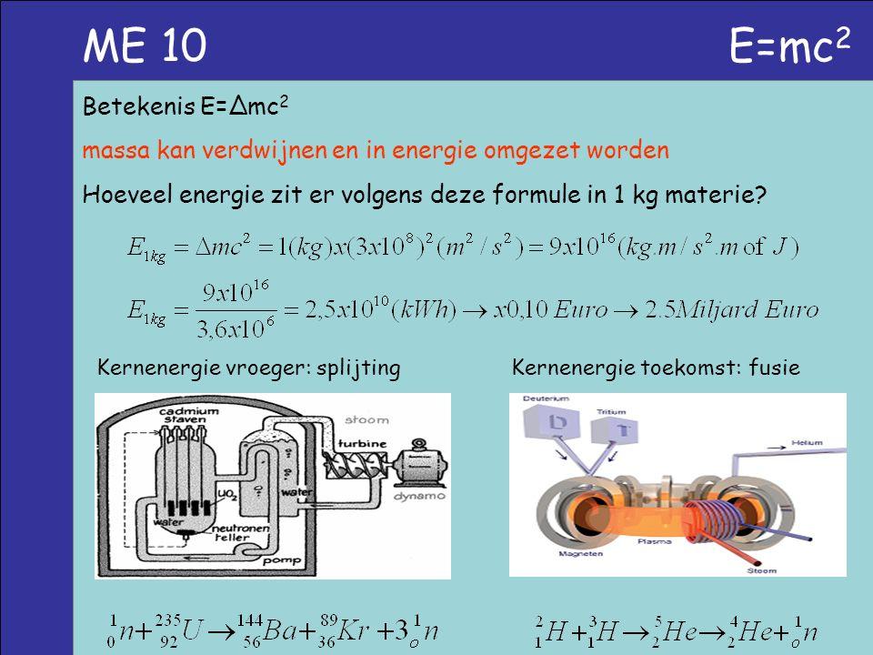 ME 10 E=mc 2 Betekenis E=∆mc 2 massa kan verdwijnen en in energie omgezet worden Hoeveel energie zit er volgens deze formule in 1 kg materie? Kernener
