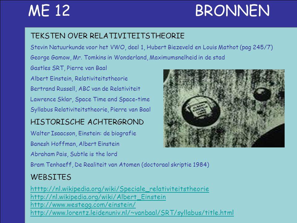ME 12 BRONNEN htttp://nl.wikipedia.org/wiki/Speciale_relativiteitstheorie http://nl.wikipedia.org/wiki/Albert_Einstein http://www.westegg.com/einstein