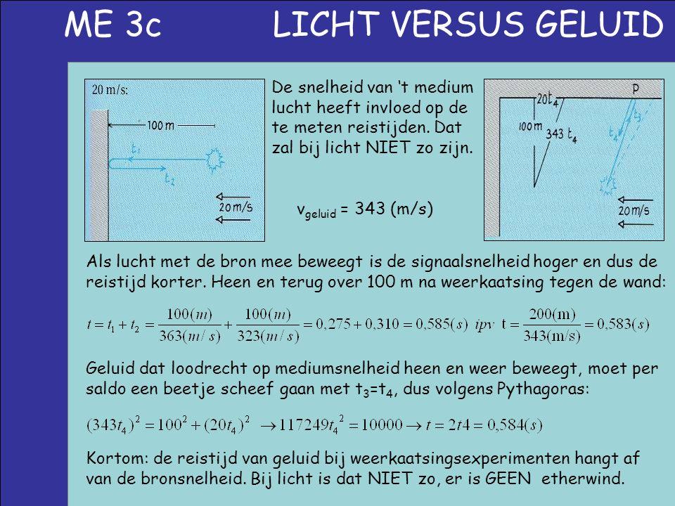 ME 3c LICHT VERSUS GELUID De snelheid van 't medium lucht heeft invloed op de te meten reistijden. Dat zal bij licht NIET zo zijn. v geluid = 343 (m/s