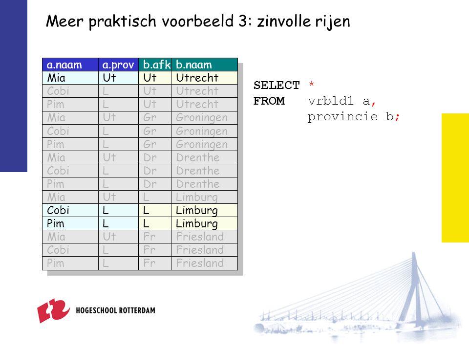 Meer praktisch voorbeeld 3: zinvolle rijen SELECT * FROM vrbld1 a, provincie b; a.naama.provb.afkb.naam MiaUt Utrecht CobiLUtUtrecht PimLUtUtrecht MiaUtGrGroningen CobiLGrGroningen PimLGrGroningen MiaUtDrDrenthe CobiLDrDrenthe PimLDrDrenthe MiaUtLLimburg CobiLLLimburg PimLLLimburg MiaUtFrFriesland CobiLFrFriesland PimLFrFriesland