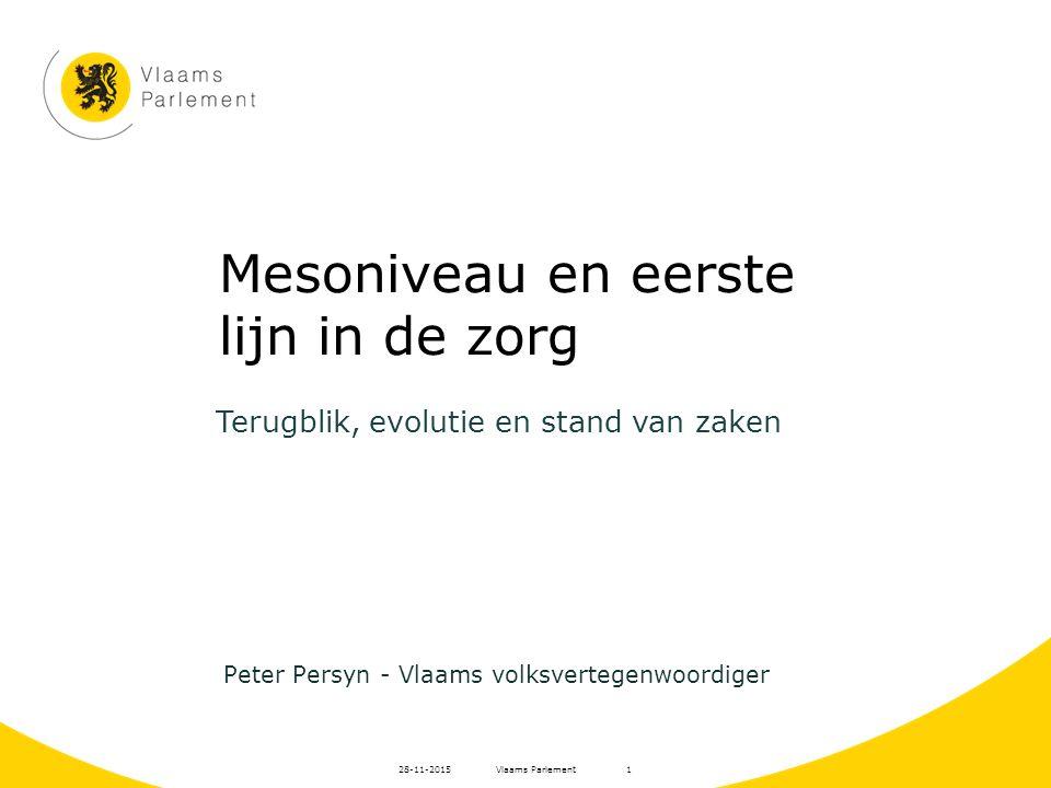 Vlaams Parlement28-11-20151 Mesoniveau en eerste lijn in de zorg Peter Persyn - Vlaams volksvertegenwoordiger Terugblik, evolutie en stand van zaken
