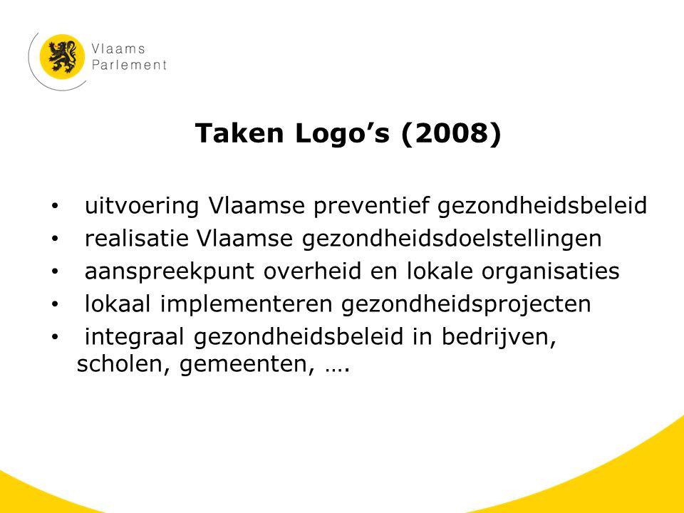 Taken Logo's (2008) uitvoering Vlaamse preventief gezondheidsbeleid realisatie Vlaamse gezondheidsdoelstellingen aanspreekpunt overheid en lokale orga