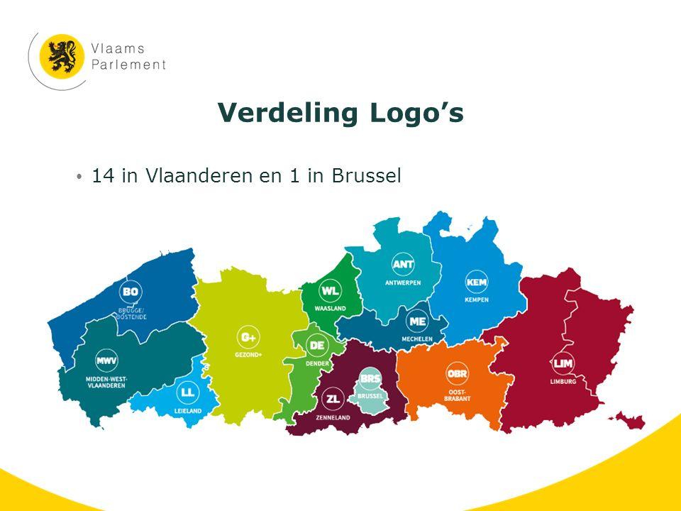 Verdeling Logo's 14 in Vlaanderen en 1 in Brussel