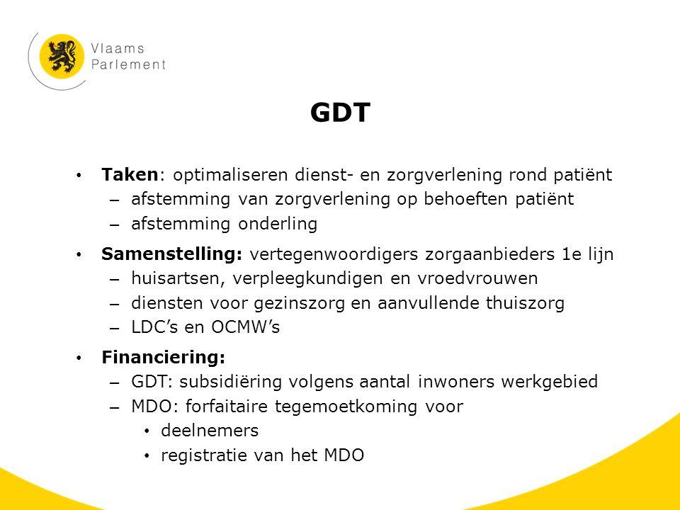 GDT Taken: optimaliseren dienst- en zorgverlening rond patiënt – afstemming van zorgverlening op behoeften patiënt – afstemming onderling Samenstellin