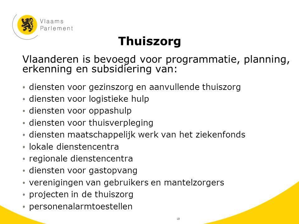 Thuiszorg Vlaanderen is bevoegd voor programmatie, planning, erkenning en subsidiering van: diensten voor gezinszorg en aanvullende thuiszorg diensten