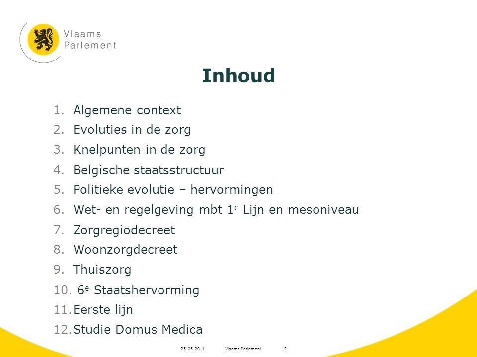 Vlaams Parlement25-05-20112 1.Algemene context 2.Evoluties in de zorg 3.Knelpunten in de zorg 4.Belgische staatsstructuur 5.Politieke evolutie – hervo