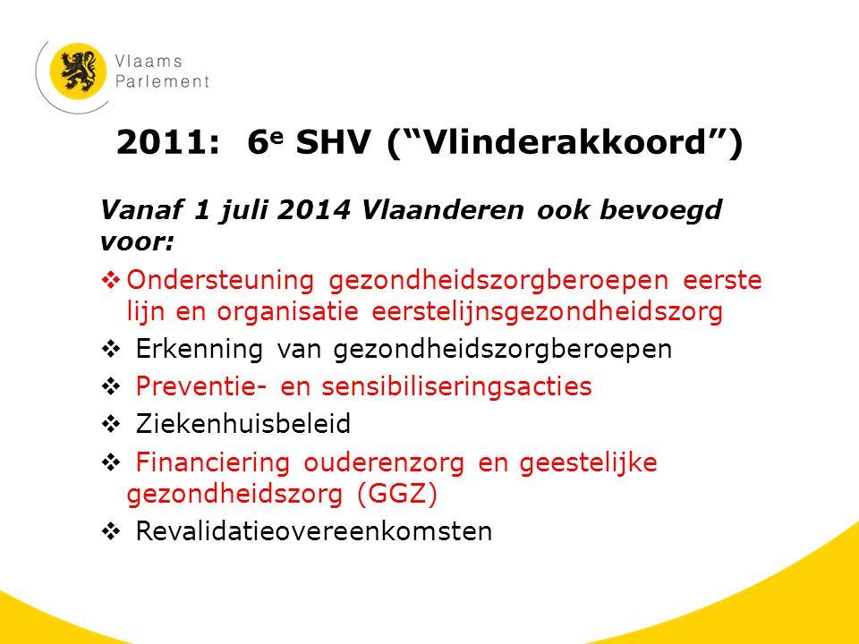 """2011: 6 e SHV (""""Vlinderakkoord"""") Vanaf 1 juli 2014 Vlaanderen ook bevoegd voor:  Ondersteuning gezondheidszorgberoepen eerste lijn en organisatie eer"""