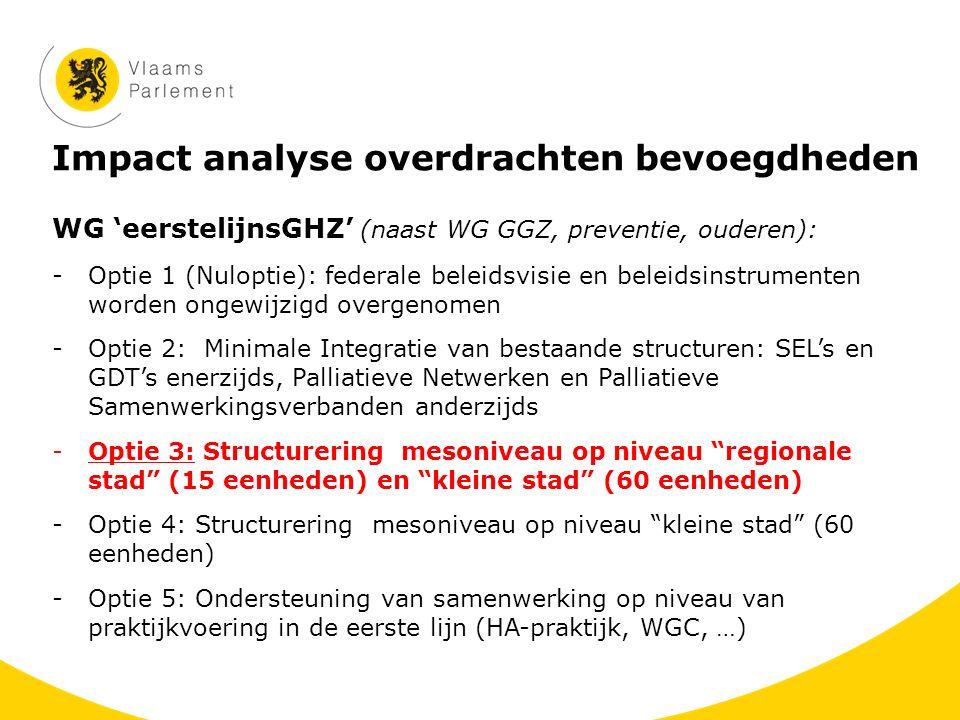 Impact analyse overdrachten bevoegdheden WG 'eerstelijnsGHZ' (naast WG GGZ, preventie, ouderen): -Optie 1 (Nuloptie): federale beleidsvisie en beleids