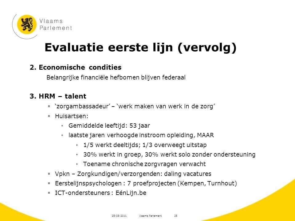Evaluatie eerste lijn (vervolg) 2. Economische condities Belangrijke financiële hefbomen blijven federaal 3. HRM – talent  'zorgambassadeur' – 'werk