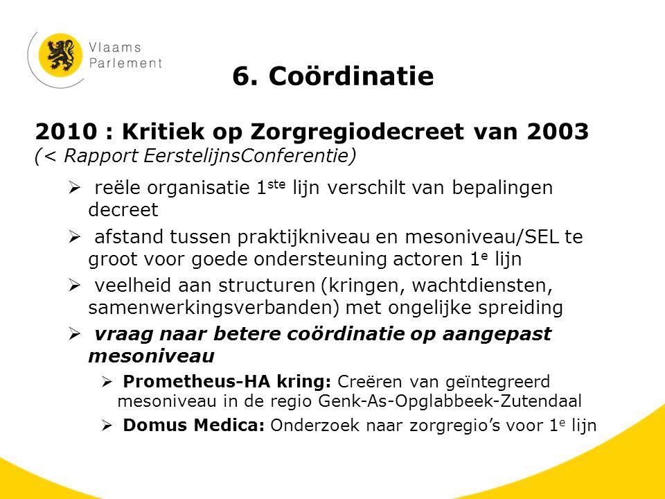 6. Coördinatie 2010 : Kritiek op Zorgregiodecreet van 2003 (< Rapport EerstelijnsConferentie)  reële organisatie 1 ste lijn verschilt van bepalingen