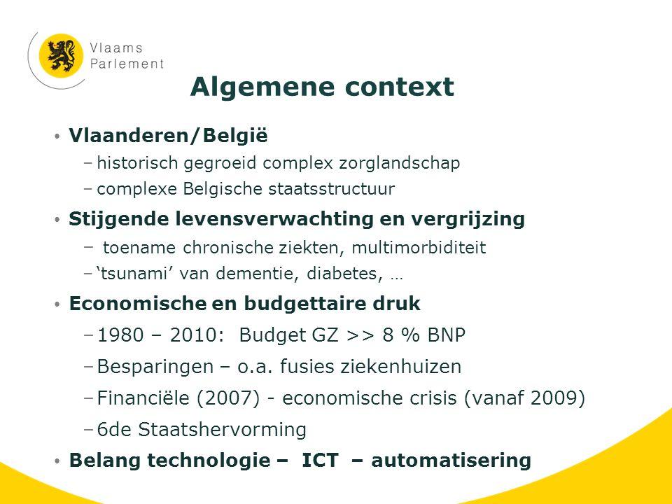 Algemene context Vlaanderen/België –historisch gegroeid complex zorglandschap –complexe Belgische staatsstructuur Stijgende levensverwachting en vergr