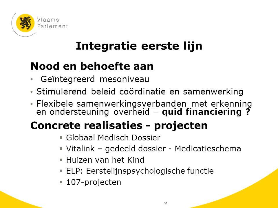 Integratie eerste lijn Nood en behoefte aan Geïntegreerd mesoniveau Stimulerend beleid coördinatie en samenwerking Flexibele samenwerkingsverbanden me