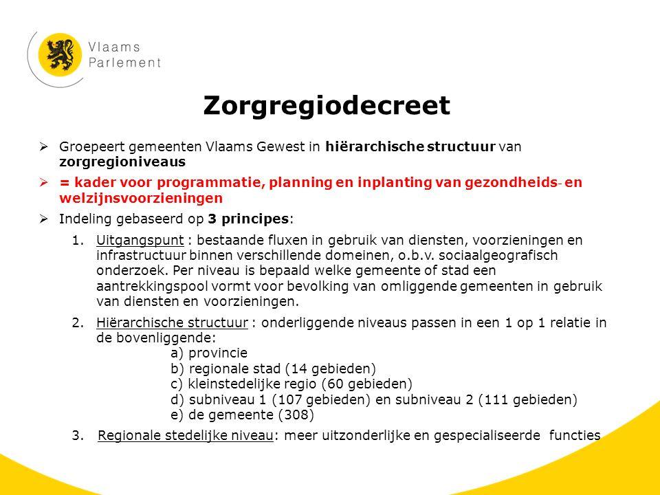 Zorgregiodecreet  Groepeert gemeenten Vlaams Gewest in hiërarchische structuur van zorgregioniveaus  = kader voor programmatie, planning en inplanti