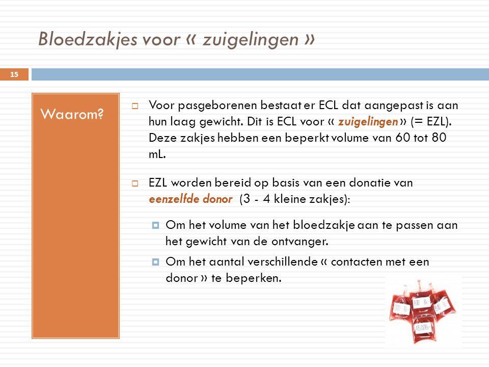 Bloedzakjes voor « zuigelingen » Waarom?  Voor pasgeborenen bestaat er ECL dat aangepast is aan hun laag gewicht. Dit is ECL voor « zuigelingen » (=