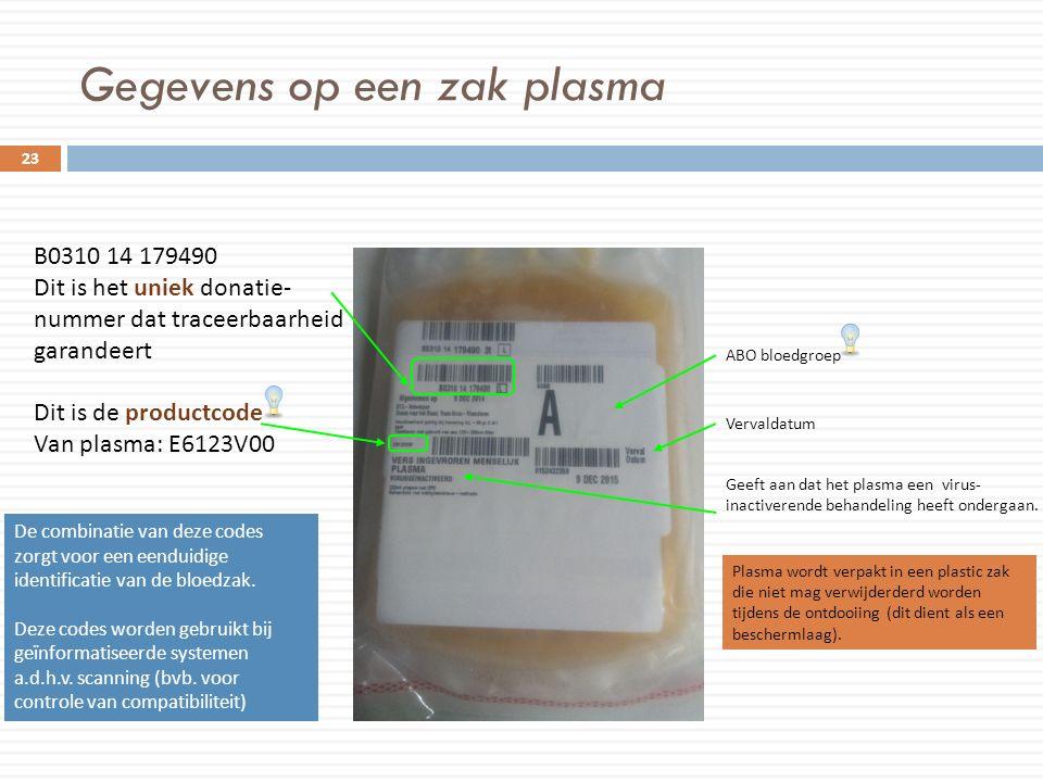 Gegevens op een zak plasma 23 B0310 14 179490 Dit is het uniek donatie- nummer dat traceerbaarheid garandeert Dit is de productcode Van plasma: E6123V