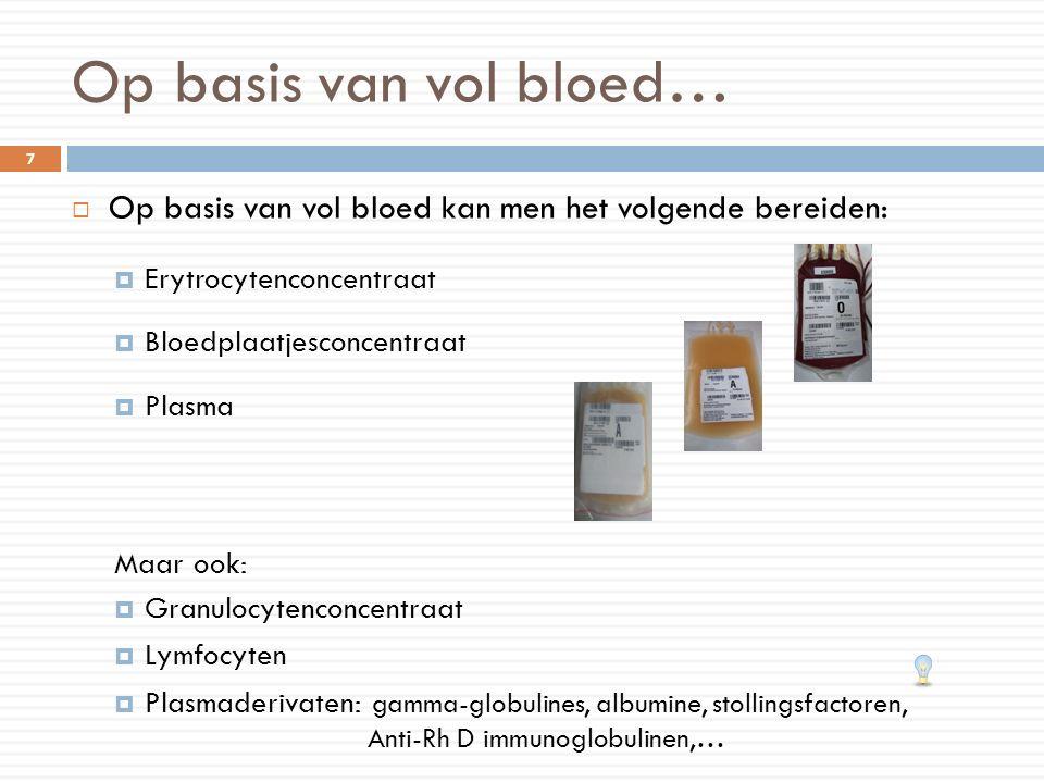  Op basis van vol bloed kan men het volgende bereiden:  Erytrocytenconcentraat  Bloedplaatjesconcentraat  Plasma Maar ook:  Granulocytenconcentra