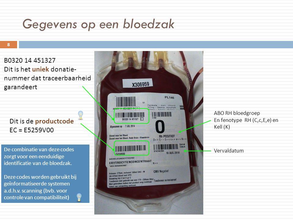 Gegevens op een bloedzak 8 B0320 14 451327 Dit is het uniek donatie- nummer dat traceerbaarheid garandeert Dit is de productcode EC = E5259V00 ABO RH