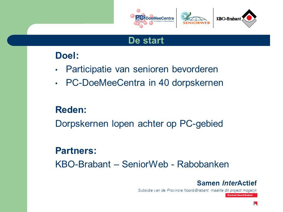 Subsidie van de Provincie Noord-Brabant maakte dit project mogelijk Samen InterActief De start Doel: Participatie van senioren bevorderen PC-DoeMeeCentra in 40 dorpskernen Reden: Dorpskernen lopen achter op PC-gebied Partners: KBO-Brabant – SeniorWeb - Rabobanken