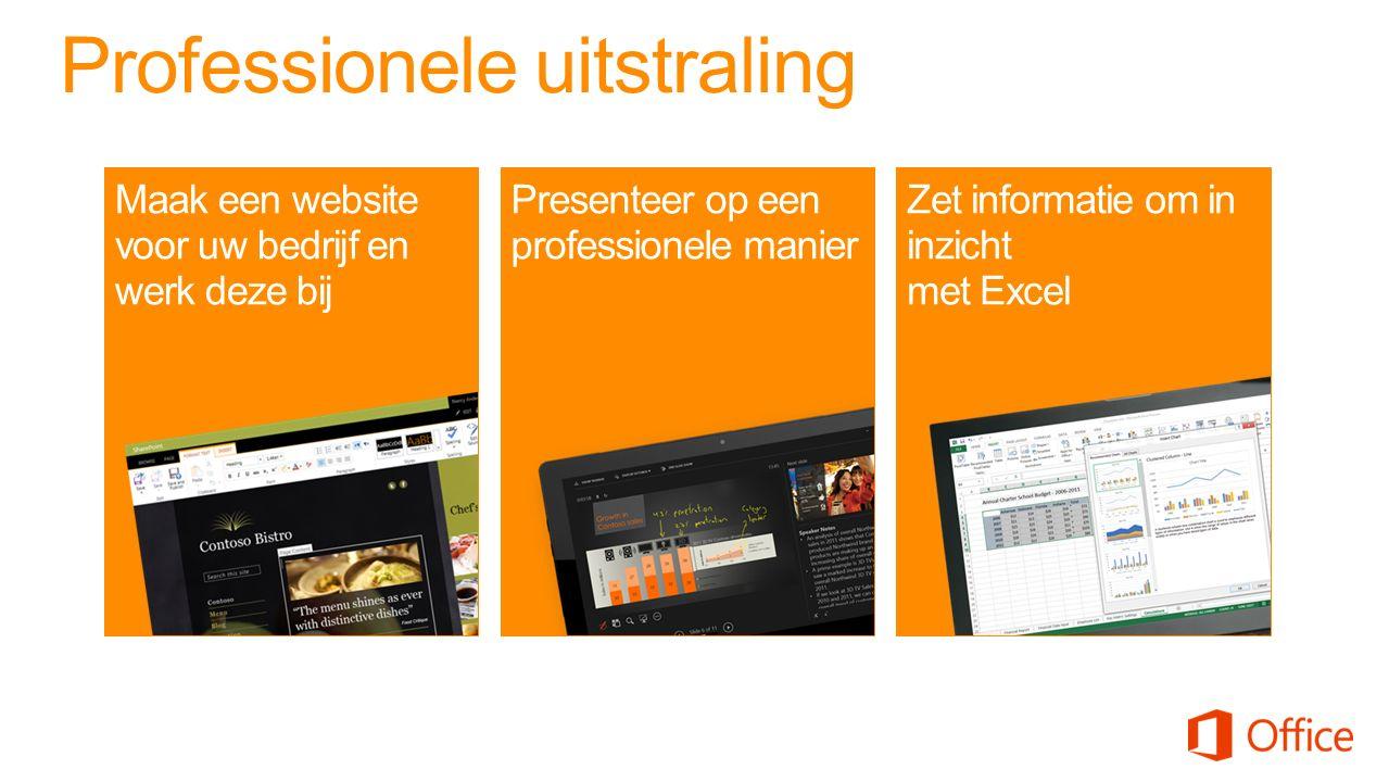 Professionele uitstraling Presenteer op een professionele manier Zet informatie om in inzicht met Excel Maak een website voor uw bedrijf en werk deze bij
