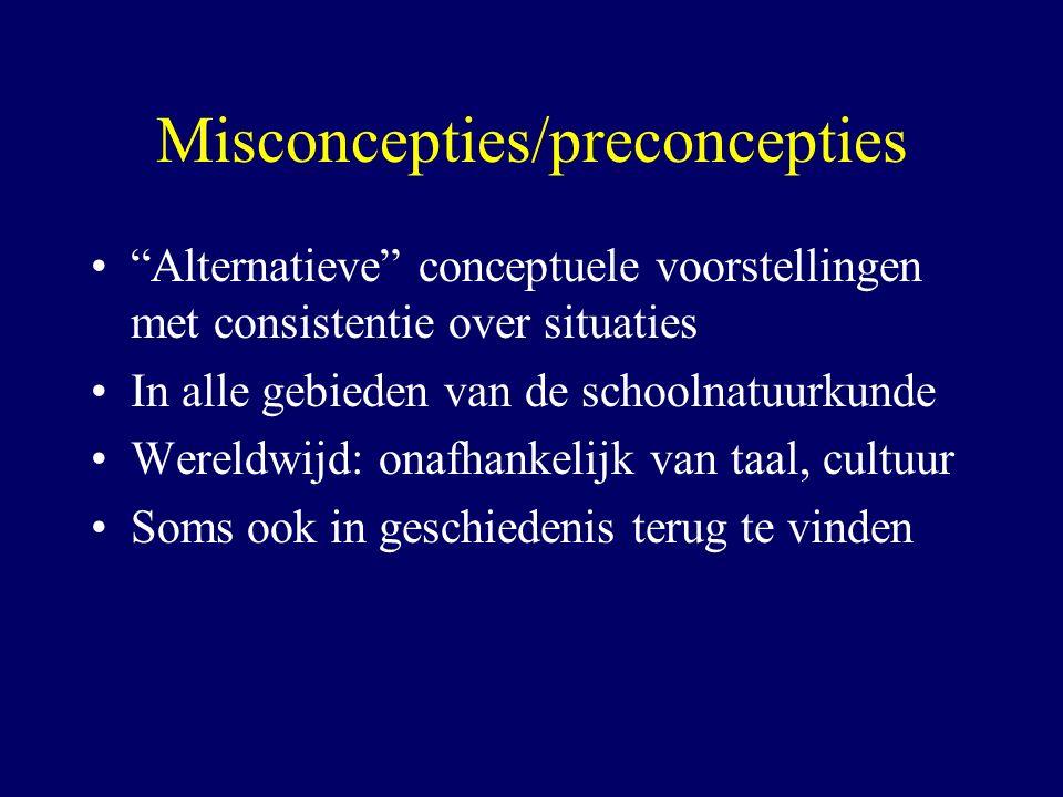 """Misconcepties/preconcepties """"Alternatieve"""" conceptuele voorstellingen met consistentie over situaties In alle gebieden van de schoolnatuurkunde Wereld"""