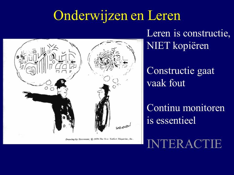 Onderwijzen en Leren Leren is constructie, NIET kopiëren Constructie gaat vaak fout Continu monitoren is essentieel INTERACTIE