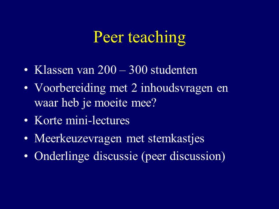 Peer teaching Klassen van 200 – 300 studenten Voorbereiding met 2 inhoudsvragen en waar heb je moeite mee? Korte mini-lectures Meerkeuzevragen met ste