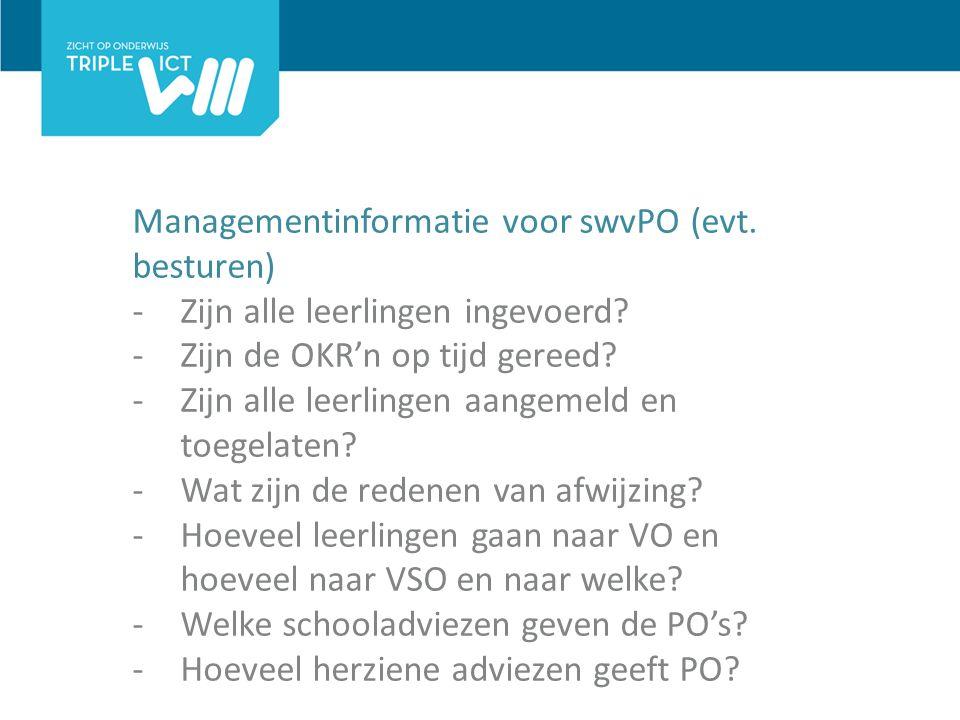 Managementinformatie voor swvPO (evt. besturen) -Zijn alle leerlingen ingevoerd.