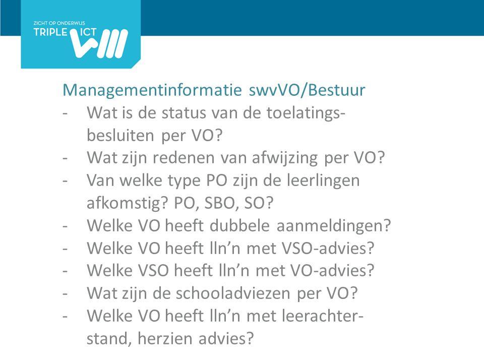 Managementinformatie swvVO/Bestuur -Wat is de status van de toelatings- besluiten per VO.