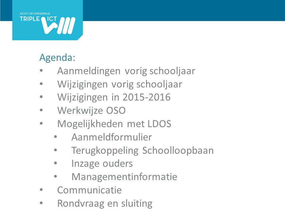 Agenda: Aanmeldingen vorig schooljaar Wijzigingen vorig schooljaar Wijzigingen in 2015-2016 Werkwijze OSO Mogelijkheden met LDOS Aanmeldformulier Terugkoppeling Schoolloopbaan Inzage ouders Managementinformatie Communicatie Rondvraag en sluiting