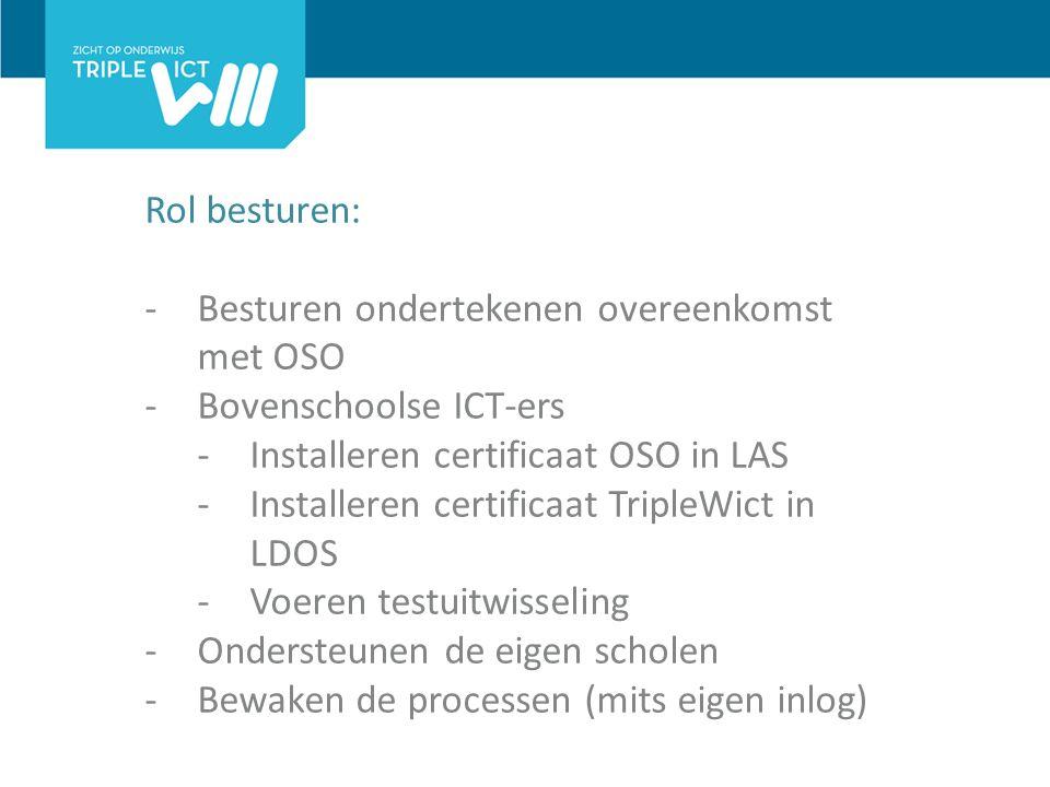 Rol besturen: -Besturen ondertekenen overeenkomst met OSO -Bovenschoolse ICT-ers -Installeren certificaat OSO in LAS -Installeren certificaat TripleWict in LDOS -Voeren testuitwisseling -Ondersteunen de eigen scholen -Bewaken de processen (mits eigen inlog)