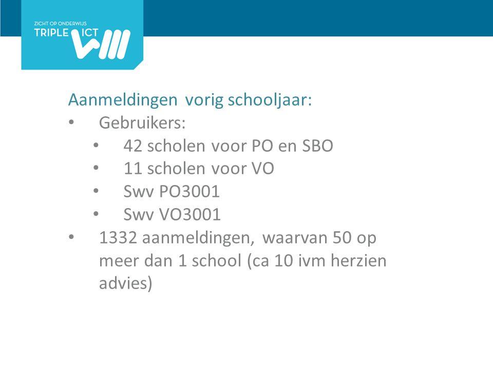 Aanmeldingen vorig schooljaar: Gebruikers: 42 scholen voor PO en SBO 11 scholen voor VO Swv PO3001 Swv VO3001 1332 aanmeldingen, waarvan 50 op meer dan 1 school (ca 10 ivm herzien advies)