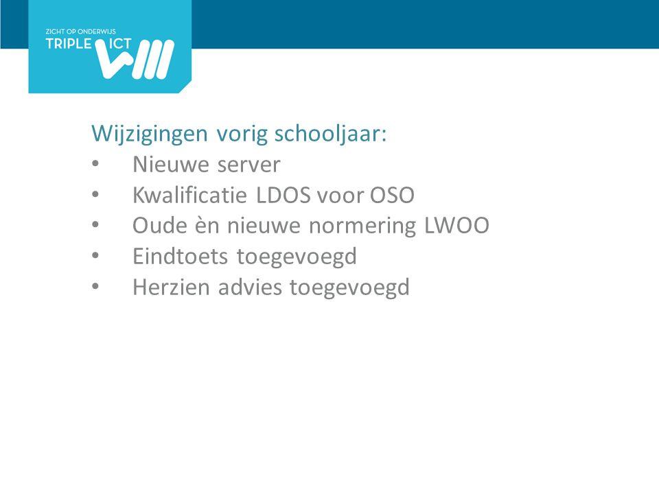 Wijzigingen vorig schooljaar: Nieuwe server Kwalificatie LDOS voor OSO Oude èn nieuwe normering LWOO Eindtoets toegevoegd Herzien advies toegevoegd