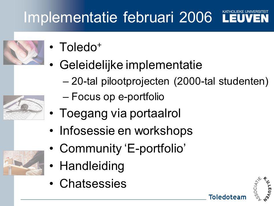 Toledoteam Implementatie februari 2006 Toledo + Geleidelijke implementatie –20-tal pilootprojecten (2000-tal studenten) –Focus op e-portfolio Toegang via portaalrol Infosessie en workshops Community 'E-portfolio' Handleiding Chatsessies