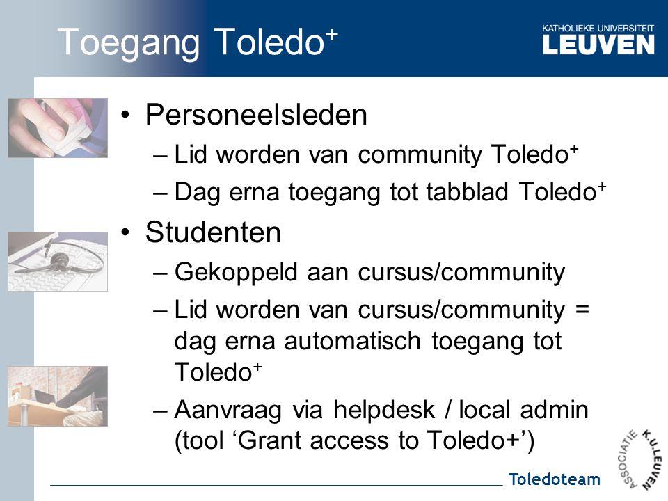 Toledoteam Toegang Toledo + Personeelsleden –Lid worden van community Toledo + –Dag erna toegang tot tabblad Toledo + Studenten –Gekoppeld aan cursus/community –Lid worden van cursus/community = dag erna automatisch toegang tot Toledo + –Aanvraag via helpdesk / local admin (tool 'Grant access to Toledo+')