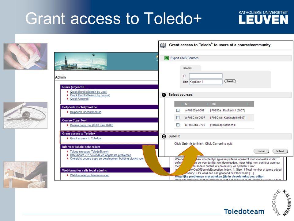 Toledoteam Grant access to Toledo+