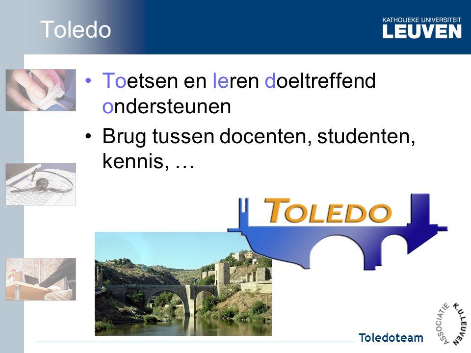 Toledoteam Toledo Toetsen en leren doeltreffend ondersteunen Brug tussen docenten, studenten, kennis, …