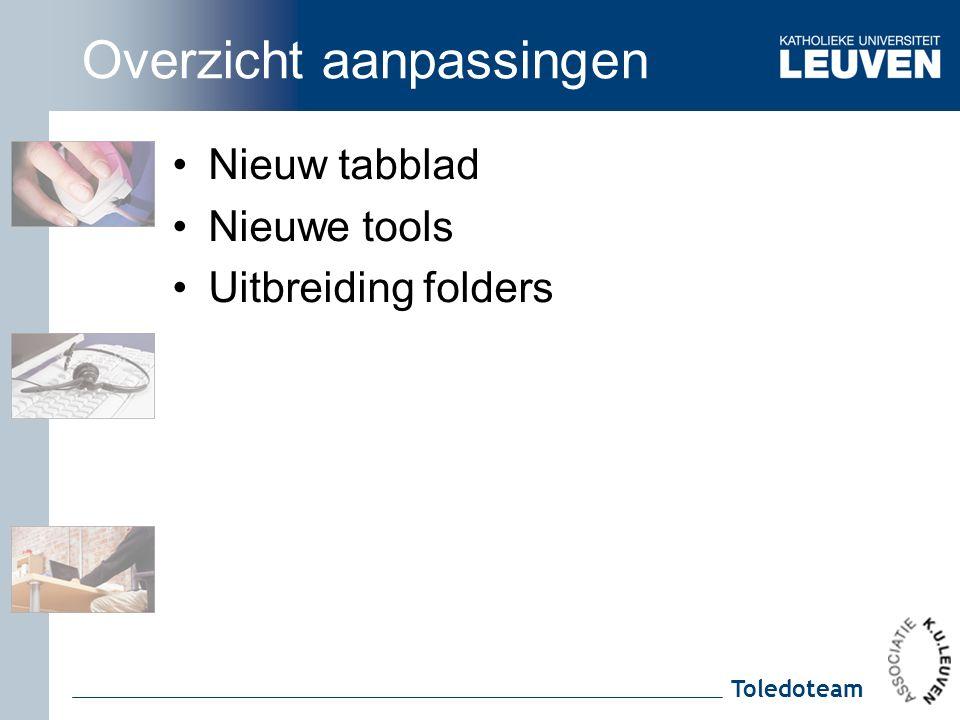Toledoteam Overzicht aanpassingen Nieuw tabblad Nieuwe tools Uitbreiding folders