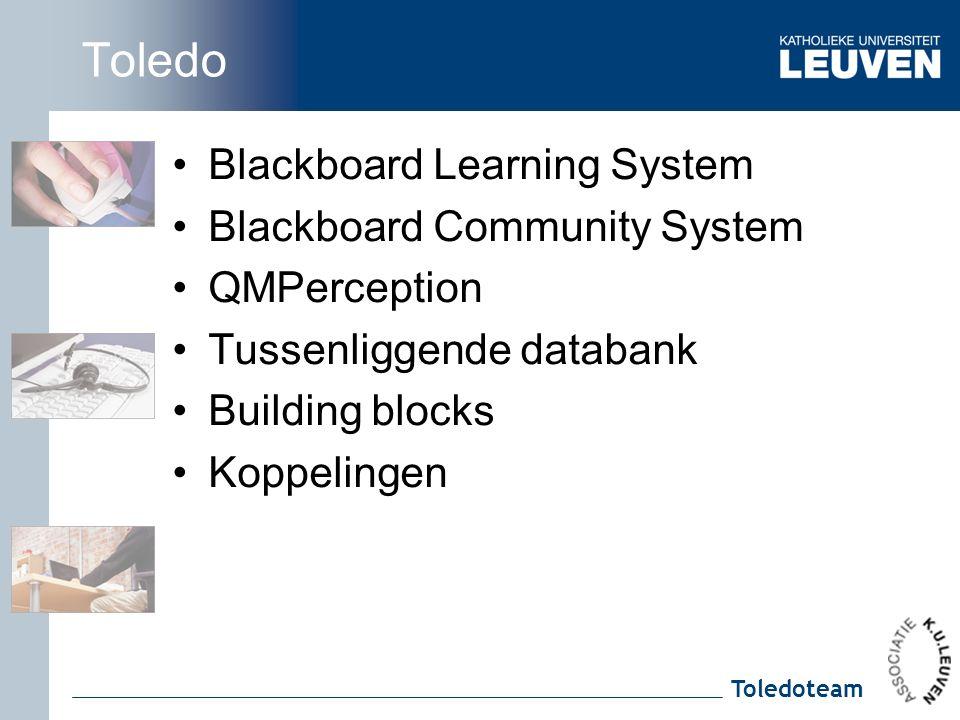 Toledoteam Toledo Blackboard Learning System Blackboard Community System QMPerception Tussenliggende databank Building blocks Koppelingen