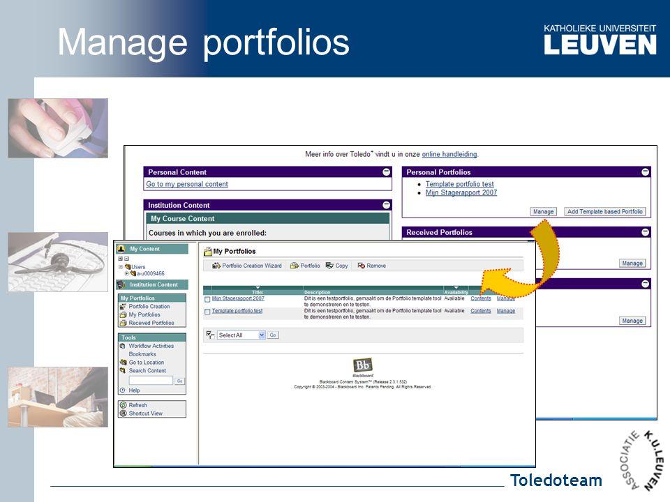 Toledoteam Manage portfolios