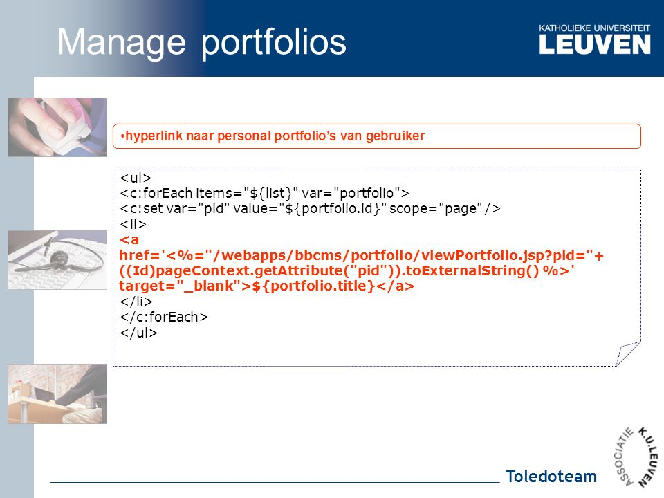 Toledoteam hyperlink naar personal portfolio's van gebruiker <a href= target= _blank >${portfolio.title} Manage portfolios