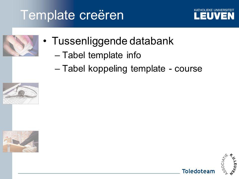 Toledoteam Template creëren Tussenliggende databank –Tabel template info –Tabel koppeling template - course