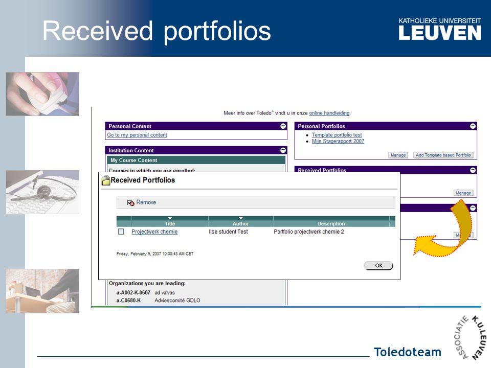 Toledoteam Received portfolios