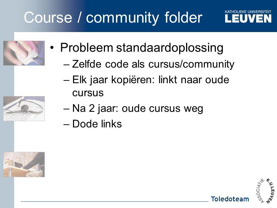 Toledoteam Course / community folder Probleem standaardoplossing –Zelfde code als cursus/community –Elk jaar kopiëren: linkt naar oude cursus –Na 2 jaar: oude cursus weg –Dode links