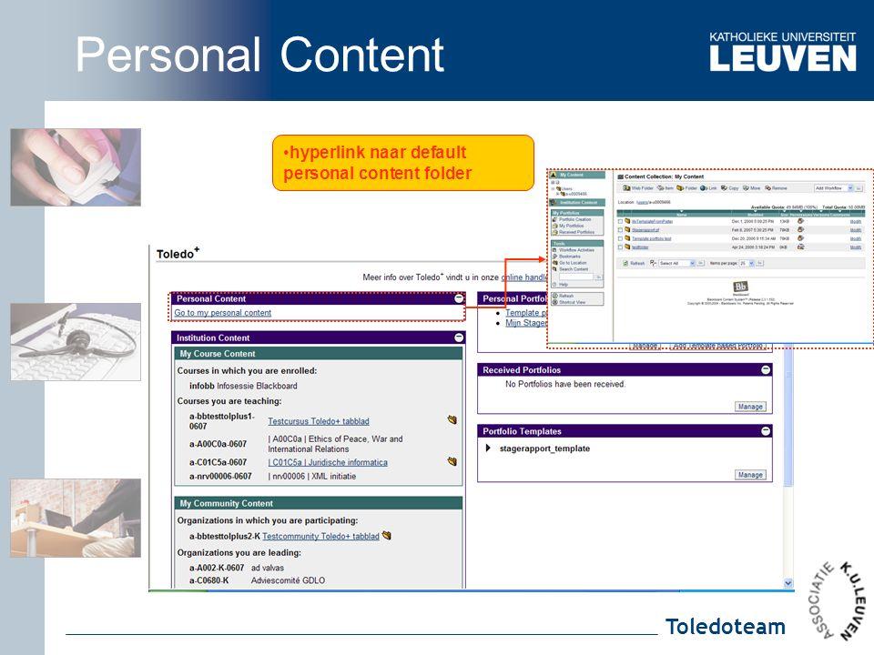 Toledoteam hyperlink naar default personal content folder Personal Content