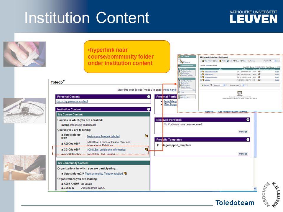 Toledoteam hyperlink naar course/community folder onder institution content Institution Content